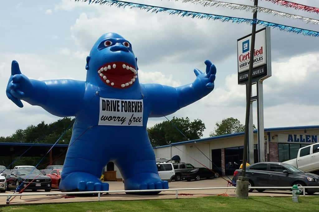 custom inflatables gorilla driveby inflatable advertising