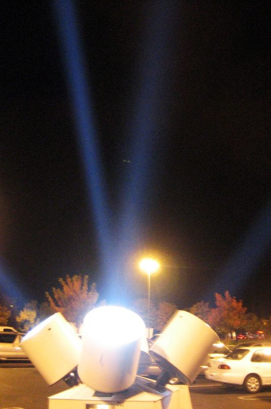 searchlights get noticed after dark