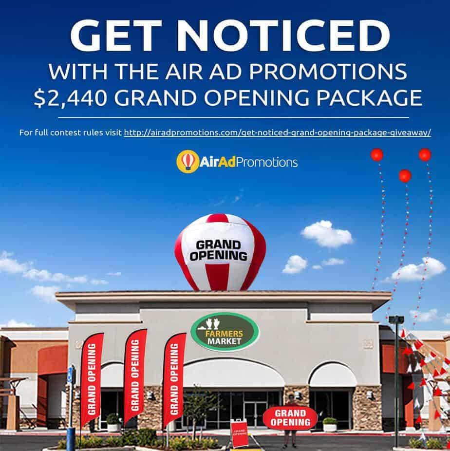 Announcing the first air ad promotions grand opening for New home giveaway