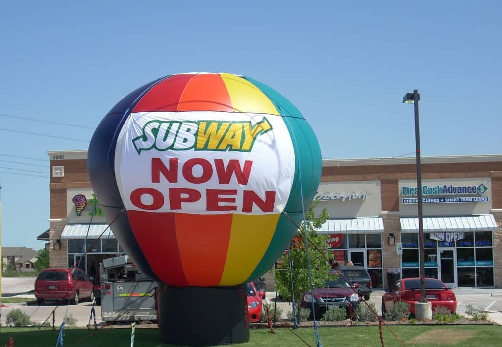 advertising balloons with now open