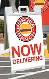 sidewalk sign marketing restaurant delivery