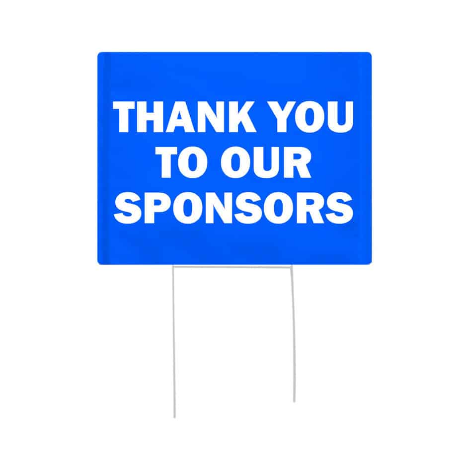 event sponsorship ideas blue bandit signs with white text.