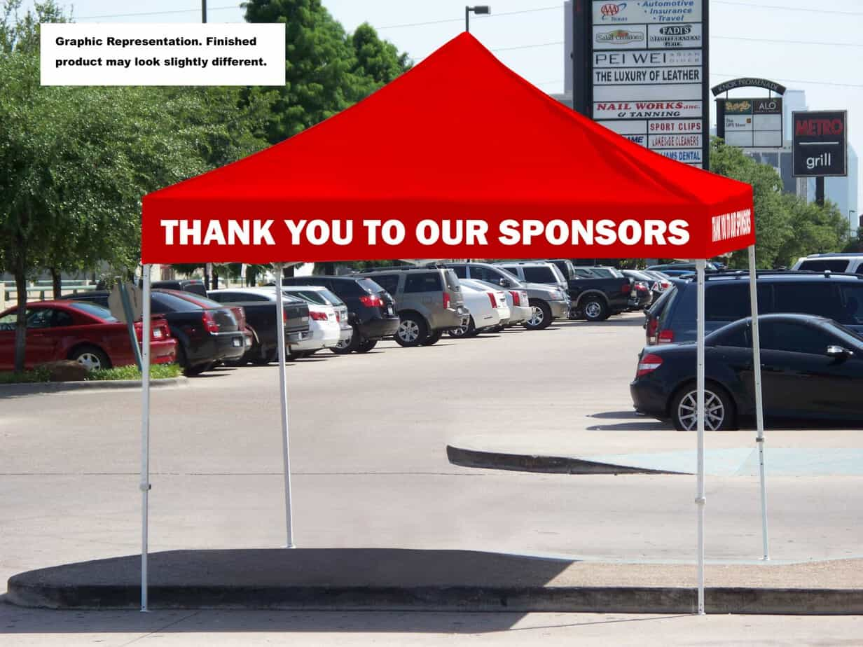 event sponsorship ideas red tent with white text.